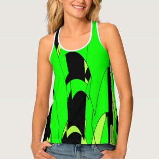 Lemon Lime Abstract Art Singlet