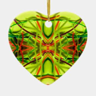 Lemon Lime Bending Lines By BethofArt Ceramic Heart Decoration