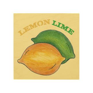 Lemon Lime Citrus Fruit Cooking Kitchen Food Gift Wood Print