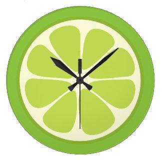 Lemon Lime Green Juicy Citrus Fruit Slice Kitchen Large Clock