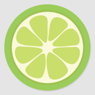 Lemon Lime Green Juicy Summer Citrus Fruit Slice Classic Round Sticker