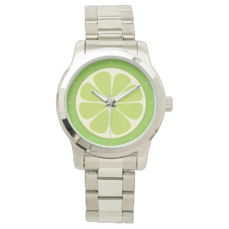 Lemon Lime Green Juicy Summer Citrus Fruit Slice Watch