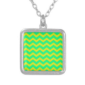 Lemon Lime Green Zigzags Square Pendant Necklace