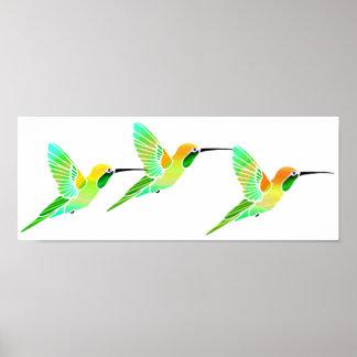 Lemon Lime Sorbet Hummingbirds Poster