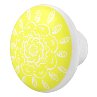 Lemon Mandala Ceramic Knob