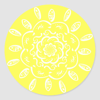 Lemon Mandala Round Sticker