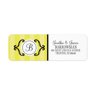 Lemon Meringue Sweet Charming Striped Personalized Return Address Label