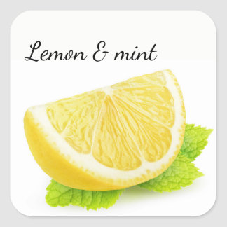 Lemon & mint square sticker
