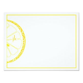 Lemon Monogram Flat Note Card Invitation