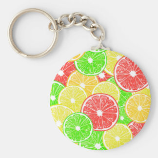 Lemon, orange, grapefruit and lime slices pattern key ring