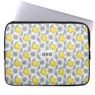 Lemon Pattern custom monogram laptop sleeves