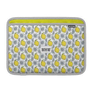 Lemon Pattern custom monogram Macbook sleeves