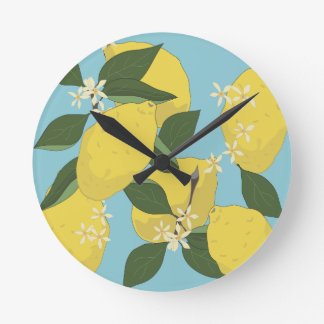 Lemon Pattern Round Clock
