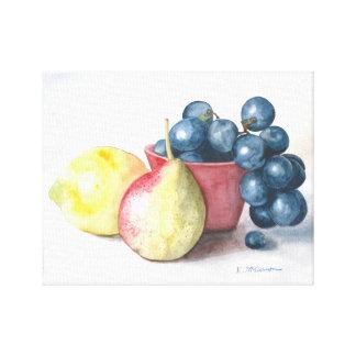 Lemon, Pear, Grapes in a Bowl Still Life print
