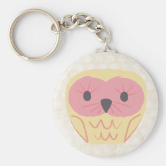 Lemon & Pink Cute Owl Gift Idea Keyring Basic Round Button Key Ring