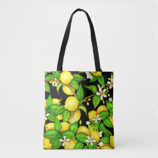 Lemon Print Handbag on black