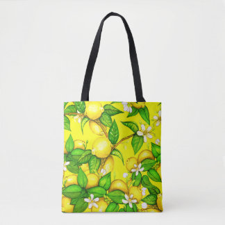 Lemon Print Handbag on yellow