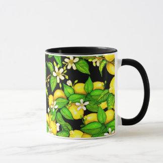 Lemon print mug on black