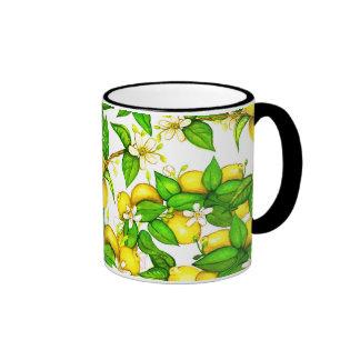 Lemon print mug on white