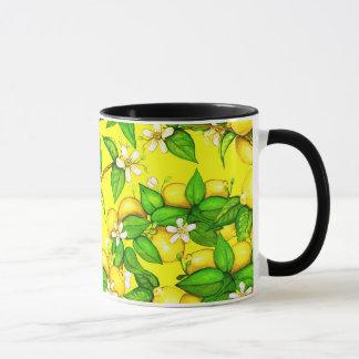 Lemon print mug on yellow