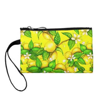 Lemon print purse on yellow change purses