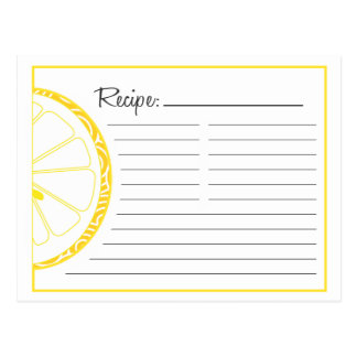 Lemon Recipe Card Postcard
