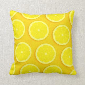 Lemon slice graphic yellow square pillow