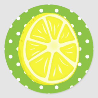 Lemon Slice, Green and White Polka Dots Classic Round Sticker