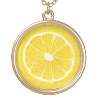 lemon slice round pendant necklace
