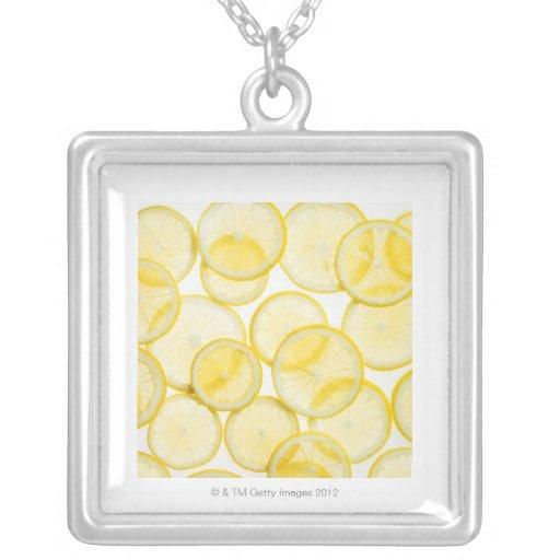 Lemon slices arranged in pattern backlit necklaces