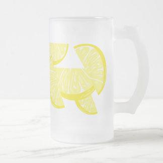 Lemon Slices Lemonade Glass Mug 6 Frosted Glass Mug