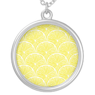 Lemon slices silver plated necklace