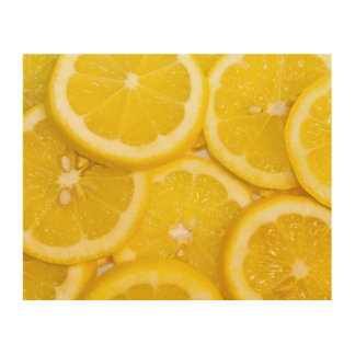Lemon Slices Wood Print