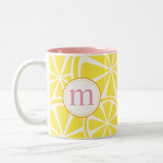 Lemon Slices Yellow Personalized Monogram Mug
