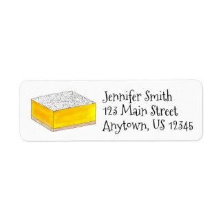 Lemon Square Bar Pastry Dessert Bake Sale Bakery Return Address Label