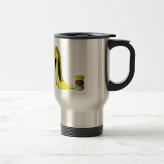 Lemon Stiletto Shoe and Macaroons Art Travel Mug
