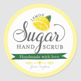 Lemon Sugar Scrub Labels Custom Round Mason Jar