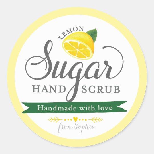 lemon sugar scrub labels custom round mason jar