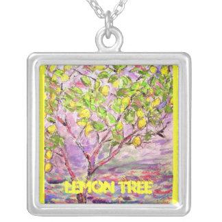 lemon tree art square pendant necklace