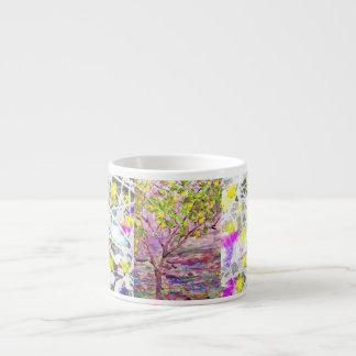 lemon tree drip painting 6 oz ceramic espresso cup