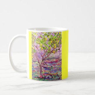 lemon tree yellow classic white coffee mug
