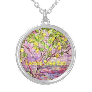 Lemon Tree Zen Round Pendant Necklace