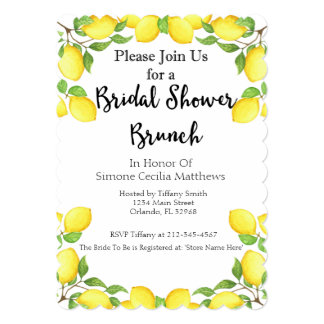 Lemon Watercolor Bridal Shower Brunch Invitation