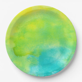 Lemon Yellow and Turquoise Blue Watercolor 9 Inch Paper Plate