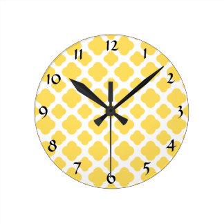 Lemon Yellow and White Quatrefoil Pattern Round Clock
