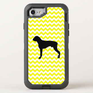 Lemon Yellow Chevron With Boxer OtterBox Defender iPhone 8/7 Case