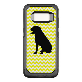 Lemon Yellow Chevron With Lab Silhouette OtterBox Commuter Samsung Galaxy S8 Case