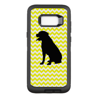 Lemon Yellow Chevron With Lab Silhouette OtterBox Defender Samsung Galaxy S8+ Case