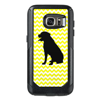 Lemon Yellow Chevron With Lab Silhouette OtterBox Samsung Galaxy S7 Case
