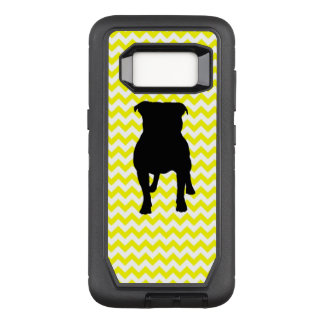 Lemon Yellow Chevron With Pug Silhouette OtterBox Defender Samsung Galaxy S8 Case